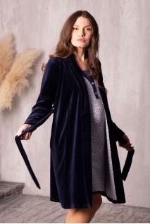Халат Care велюровый темно-синий для беременных и кормящих