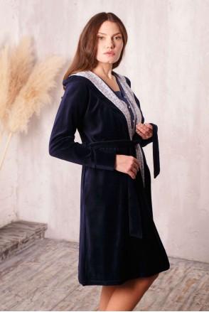 Халат Care с капюшоном велюровый темно-синий  для беременных и кормящих