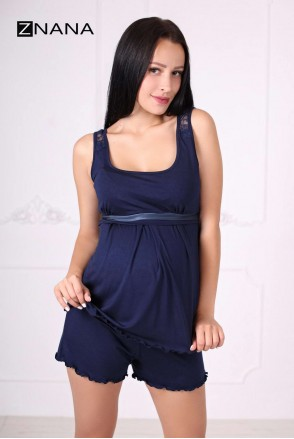 Комплект домашний Lace темно-синий для беременных и кормящих