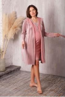 Комплект Care пудровый беж/звездочка (халат велюровый с капюшоном + ночная рубашка) для беременных и кормления
